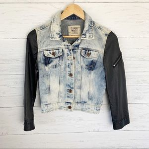 Zara Trafaluc Acid Wash Denim Jacket Faux Leather